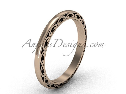 Vintage Swirl Rings, 14kt Rose Gold Wedding Band, 2mm wide Stacking Ring SGT616