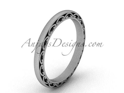 Vintage Bridal Ring , Matte White Gold Wedding Band SGT616