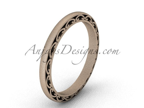 Vintage Marriage Ring , Matte Rose Gold Wedding Band SGT616