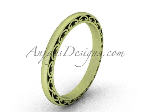 Vintage Proposal Ring, Matte Yellow Gold Wedding Band SGT616