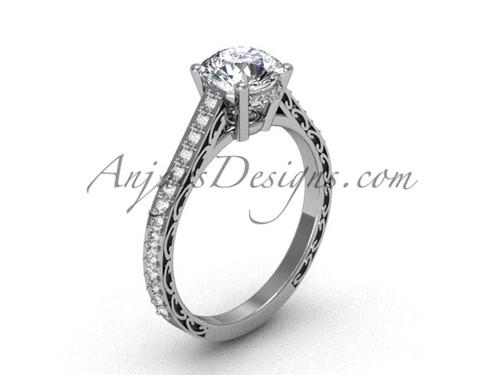 Moissanite Engagement Rings, White Gold Swirl Ring SGT618
