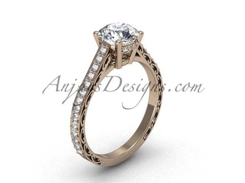 Moissanite Bridal Rings, Rose Gold Swirl Wedding Ring SGT618
