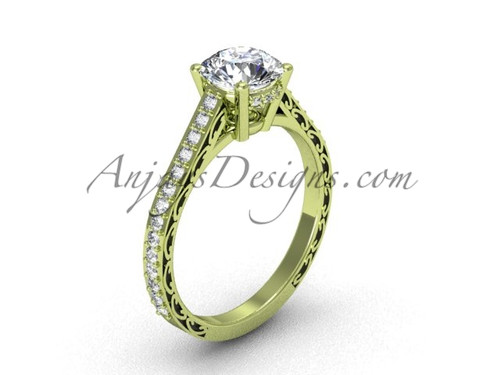 Moissanite Engagement Rings, Yellow Gold Swirl Ring SGT618