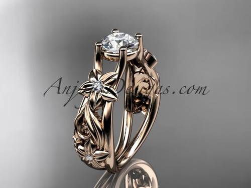 Flower Engagement Ring Rose Gold Moissanite Ring ADLR216