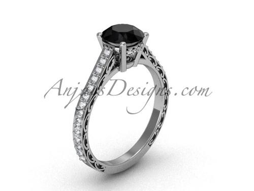 Black Diamond Bridal Rings, White Gold Swirl Ring SGT618