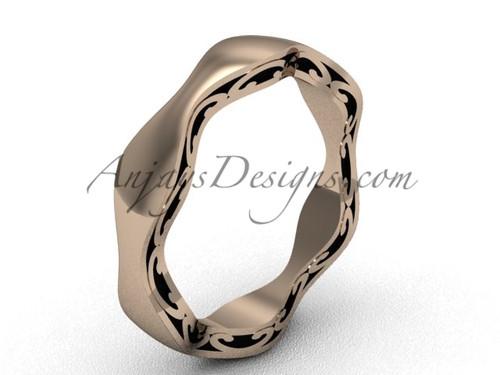 Unique Wedding Band, Rose Gold Modern Bridal Ring  SGT619
