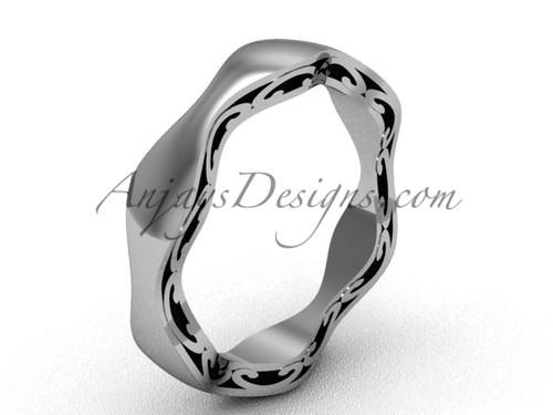 Modern Womens Wedding Band, Platinum Bridal Ring  SGT619