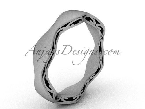 Modern Marriage Ring , Matte White Gold Wedding Band SGT619