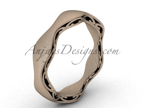 Vintage Marriage Ring , Matte Rose Gold Wedding Band SGT619