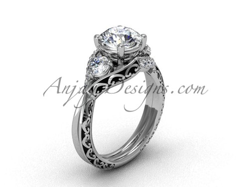 Modern Marriage Ring , White Gold Engagement Ring SGT624