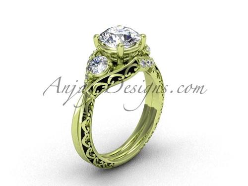 Modern Diamond Ring , Yellow Gold Unique Wedding Ring SGT624