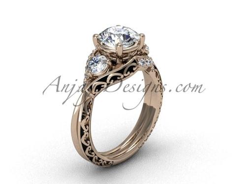 Modern Moissanite Wedding Ring, Rose Gold Unique Ring SGT624
