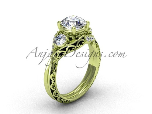 Moissanite Engagement Ring, Yellow Gold Unique Ring SGT624