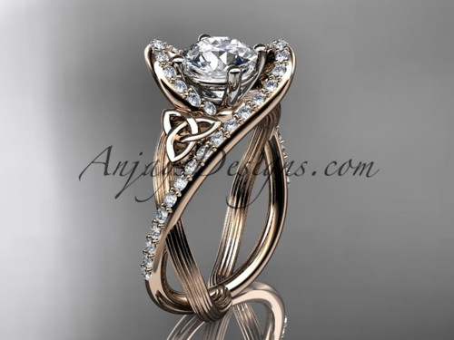 """14kt rose gold diamond celtic trinity knot wedding ring, engagement ring with a """"Forever One"""" Moissanite center stone CT7369"""