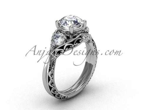 Unique Moissanite Bridal Ring, Platinum Marriage Ring SGT624