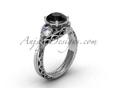 White Gold Solitaire Black Diamond Engagement Ring SGT624