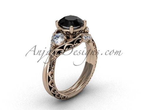 Solitaire Wedding Rings, Rose Gold Black Diamond Ring SGT624