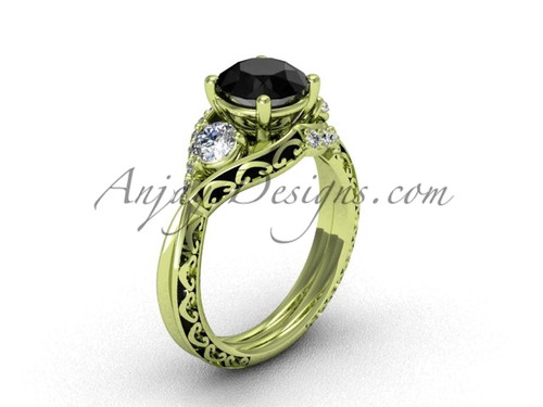 Yellow Gold Black Diamond Solitaire Engagement Ring SGT624