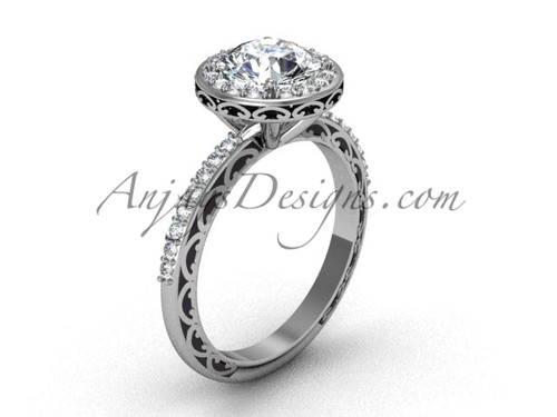 Halo Engagement Rings, White Gold Vintage Bridal Ring SGT625