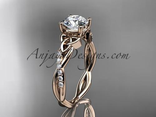 Celtic Engagement Ring, Rose Gold Moissanite Ring CT7388