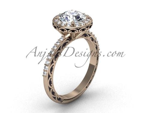 Moissanite Bridal Ring, Rose Gold Round Halo Ring SGT625