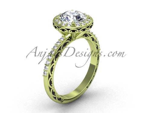 Round Halo Bridal Ring, Yellow Gold Moissanite Ring SGT625