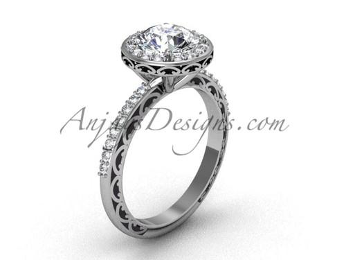 Platinum Moissanite Wedding Ring, White Gold Halo Engagement Ring SGT625
