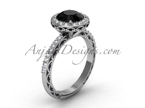 Black Diamond Engagement Ring, Halo Solitaire Ring SGT625