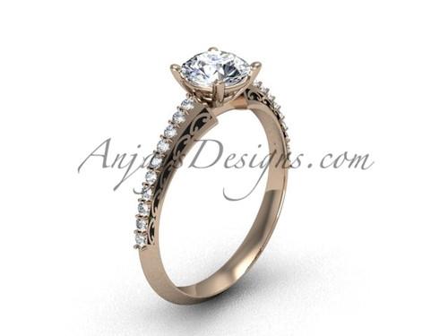 Luxury Moissanite Ring, Rose Gold Wedding Ring SGT626