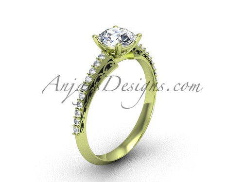 Luxury Bridal Ring, Yellow Gold Moissanite Ring SGT626