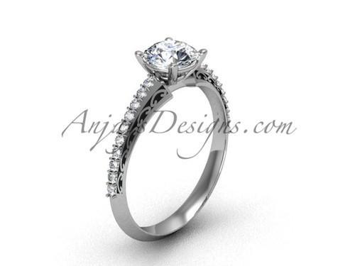 Luxury Engagement Ring, Platinum Moissanite Ring SGT626
