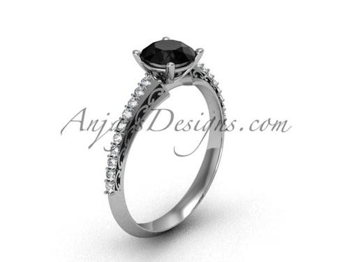Black Diamond Engagement Ring, White Gold Bridal Ring SGT626