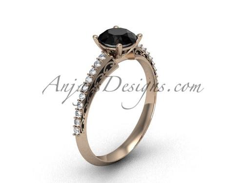 Black Diamond Wedding Ring, Rose Gold Modern Ring SGT626