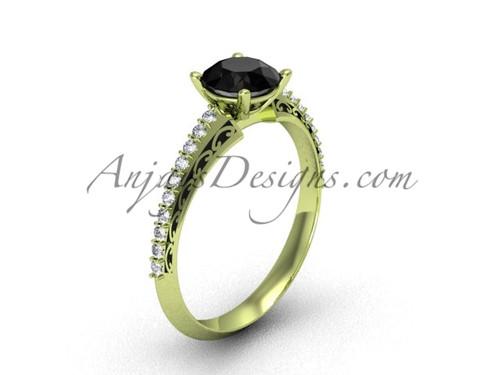 Black Diamond Wedding Ring, Yellow Gold Modern Ring SGT626