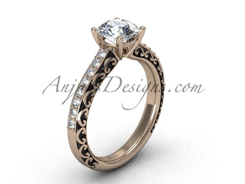 Luxury Diamond Rings, Rose Gold Women's Bridal Ring SGT629