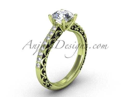 Luxury Women's Rings, Yellow Gold Engagement Ring SGT629