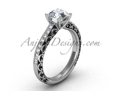 Gorgeous Moissanite Rings, White Gold Engagement Ring SGT629