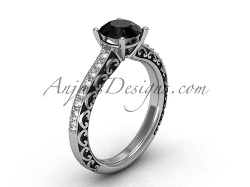 Gorgeous Black Diamond Rings, White Gold Wedding Ring SGT629