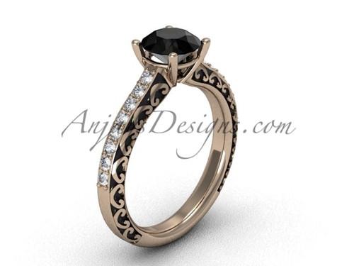 Simple Black Diamond Rings, Rose Gold Engagement Ring SGT629