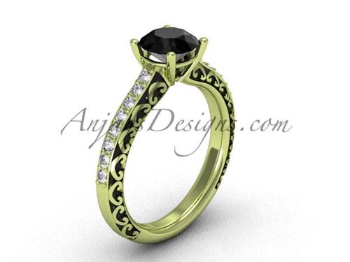 Simple Wedding Ring, Yellow Gold Black Diamond Ring SGT629