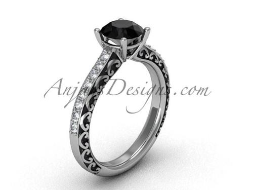 Gorgeous Black Diamond Rings, Platinum Wedding Ring SGT629