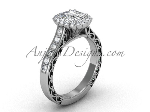 Cushion Cut Halo Engagement Rings, White Gold Bridal Ring SGT630