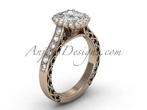 Cushion Cut Halo Engagement Rings, Rose Gold Ring SGT630