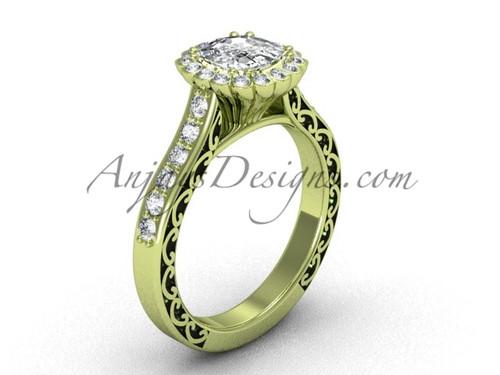 Cushion Cut Halo Diamond Rings, Yellow Gold Ring SGT630