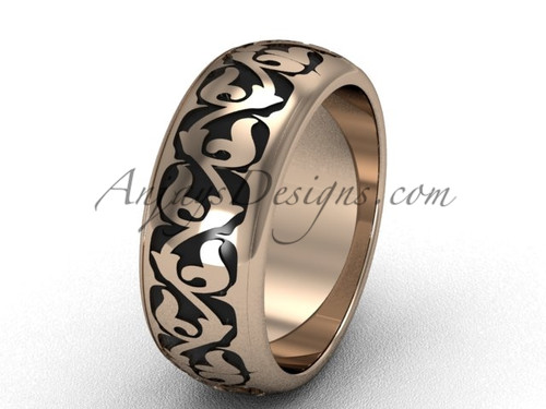 Rose gold Traditional band,  wide wedding band SGT650