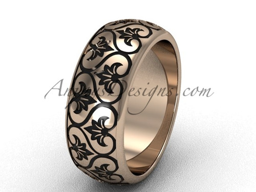 Rose gold Traditional band,  wide wedding band SGT651