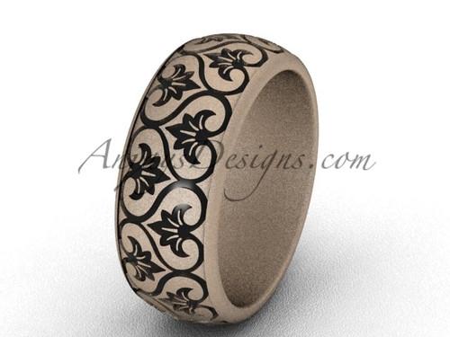 Modern Wedding Bands, 14k Rose Matte Gold Simple Engagement Ring, 7.6mm wide Band SGT651