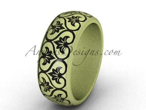 Modern Wedding Bands, 14k Yellow Matte Gold Ring, 7.6mm wide Band SGT651