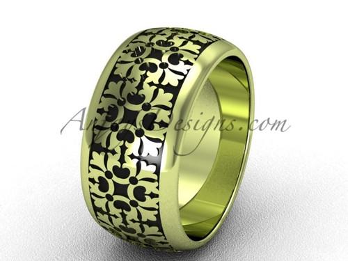 Modern Wedding Band, Yellow Gold Unusual Ring  SGT652