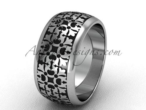 Modern Wedding Band, Platinum Unique Engagement Ring  SGT652